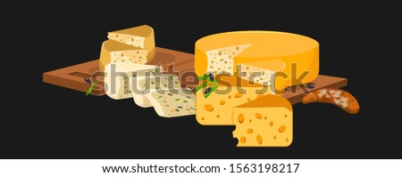 Different varieties of cheese, sliced and lying on wooden cutting boards. Nearby is fresh croissant and olives. Vector illustration