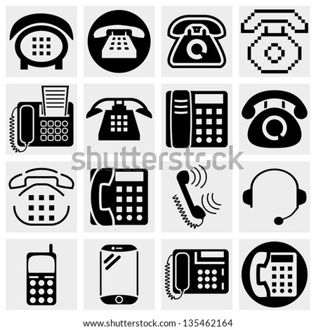 Different vector black phone icons set on gray.