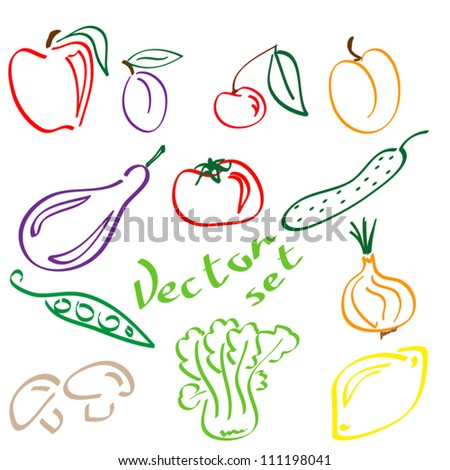 different vegan food on white background vector