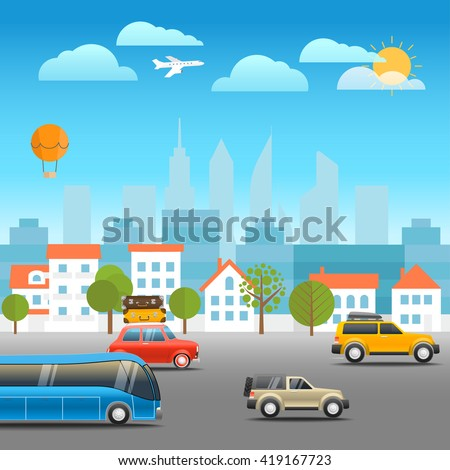 Different vehicles on a road. Vacation traffic illustration