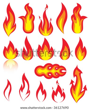 Different versions of a fire, illustration