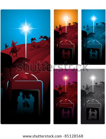Different versions of a vertical banner with the three wise men.