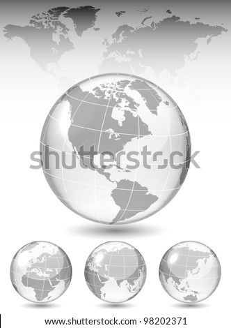 Different views of glass globe, map included, vector illustration, eps 10, 3 layers