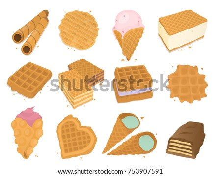 Different wafer cookies waffle cakes and chocolate pastry cookie biscuit delicious snack cream dessert crispy bakery food vector illustration Сток-фото ©