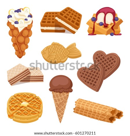 different waffle cookies on