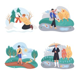 Different weather conditions concept scenes set. Man and women walking outside in winter, autumn, summer and spring. Collection of people activities. Vector illustration of characters in flat design