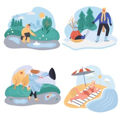 Different weather conditions concept scenes set. Walking and family vacations in spring, winter, autumn and summer. Collection of people activities. Vector illustration of characters in flat design