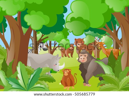 Different wild animals in the forest illustration #505685779