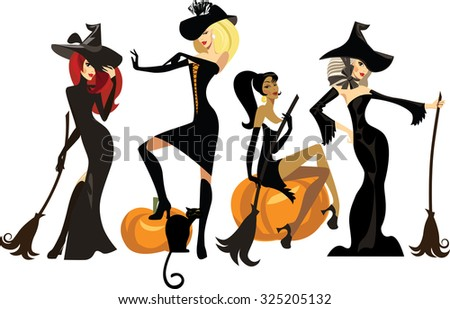 different witches in dresses