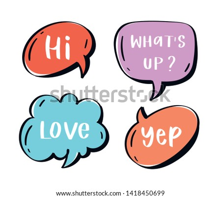 Different words and phrases in multicolor cartoon speech bubbles. Hand drawn slang lettering set for dialogs, messages, chats etc. Handwritten text in comic style and doodle frames - hi, yep, love
