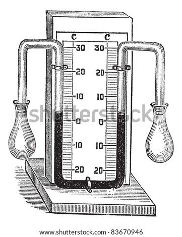 Differential thermometer. vintage engraved illustration. Medical thermometer on white. Trousset encyclopedia (1886 - 1891).
