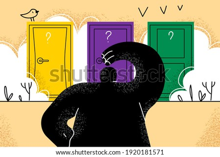 Difficult choice, making decision, success or failure concept. Businessman standing in front of many colourful doors trying to choose one looking at way to unknown future and opportunity illustration