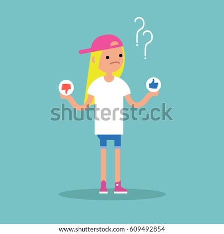 Difficult decision: like or dislike. Conceptual illustration / Editable flat vector clip art. #609492854