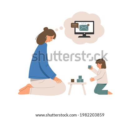 Difficulties of motherhood. Mother freelancer plays with the child and thinks about work. Teleworking problems. Vector flat illustration isolated on white background.