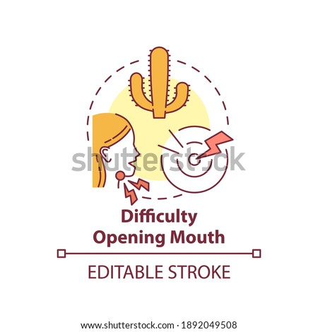 Difficulty opening mouth concept icon. Sore throat complication idea thin line illustration. Tonsils infected by bacteria and virus. Vector isolated outline RGB color drawing. Editable stroke Stock fotó ©