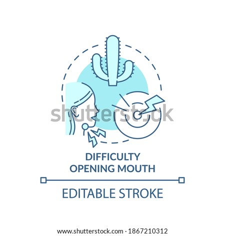 Difficulty opening mouth concept icon. Sore throat complication idea thin line illustration. Viral infection. Jaw pain and swelling. Vector isolated outline RGB color drawing. Editable stroke Stock fotó ©