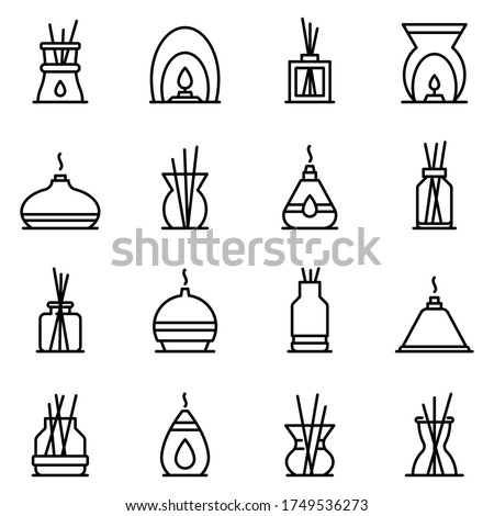 Diffuser icons set. Outline set of diffuser vector icons for web design isolated on white background Stock foto ©