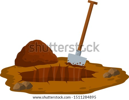 Digging a hole. Shovel and dry brown earth. Grave and excavation. Funeral in desert. Pile dirt and stones. Cartoon flat illustration in white background Foto stock ©