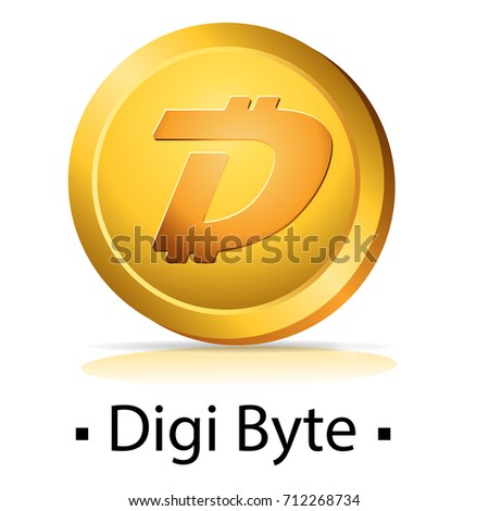 Digi Byte. Gold coin with cryptocurrency logo. Vector illustration isolated on white background.