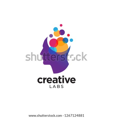 Digital Abstract human head logo for creative labs, colorful scattered circle