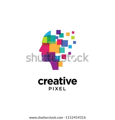 Digital Abstract human head logo with shattered pixel