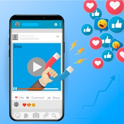 Digital advertising ads social media online marketing. vector illustration The powerful of influencer marketing is like the magnetic field that drags customer like icon into the business