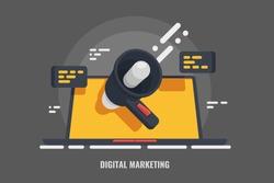 Digital advertising, email message marketing vector 3d concept, online conference, media promotion,  laptop speaker illustration