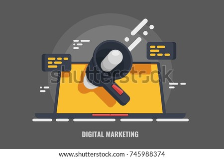 Digital advertising, email message marketing vector 3d concept, online conference, media promotion,  laptop speaker illustration