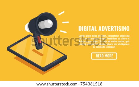 Digital advertising, mobile device isometric vector, smartphone with speaker, event notification flat isometric illustration on orange background