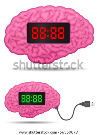 Digital alarm clock brain with usb cable plug - vector