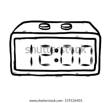 alarm clock drawing. digital alarm clock cartoon vector and illustration hand drawn sketch style isolated drawing