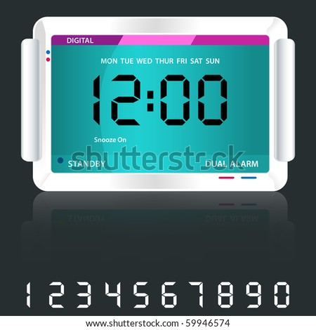 Digital alarm clock isolated on dark grey with reflection and spare digital numbers. Raster also available.