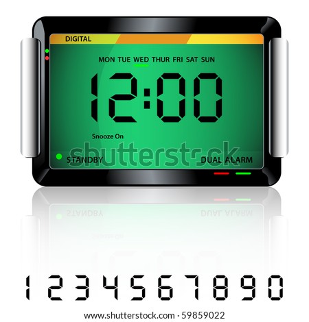 digital alarm clock isolated on