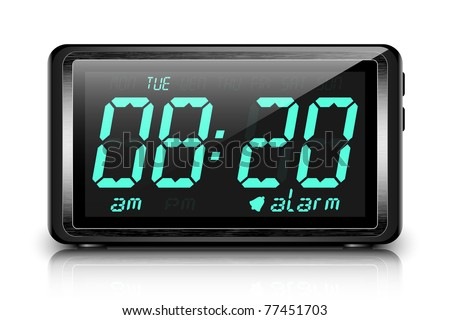Digital alarm clock. Vector
