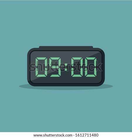 Digital alarm clock vector illustration flat, alarm with digital number flat design vector illustration