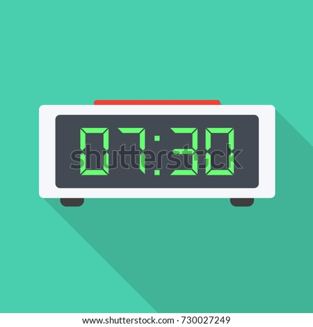 Digital alarm clock. Vector Illustration, on white background