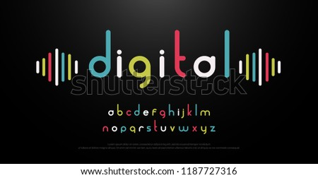 digital alphabet font music with colorful typography. vector illustraton