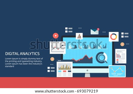 Digital analytics, Big data analysis, data science, market research, application flat vector banner illustration with icons