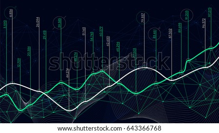 Digital analytics concept, data visualization, financial schedule, vector