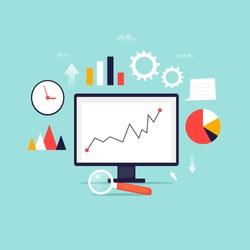 Digital analytics information tools. Big data. Flat design vector illustration.