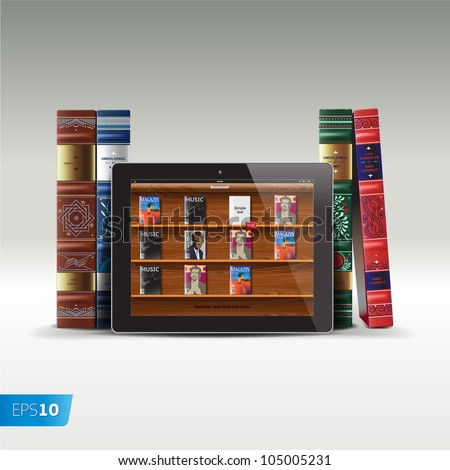 Digital and real books, vector Eps10 image