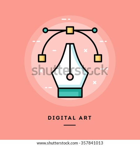 digital art  flat design thin