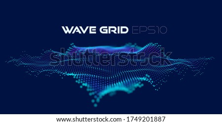 Digital art wave particles grid for design. Dynamic wave flow. Abstract 3d art background. Cyber space background. Particles vector.