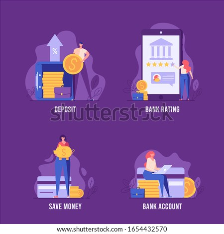 Digital bank UI illustrations in flat design. Concepts of bank deposit, bank rating, account in bank, credit card. People saving money with banking finance service. Set of banking vector illustrations