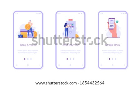 Digital bank UI onboarding screen illustrations for mobile application. Concepts of bank account, ATM, mobile banking. People saving money with banking service. Set of banking vector illustrations