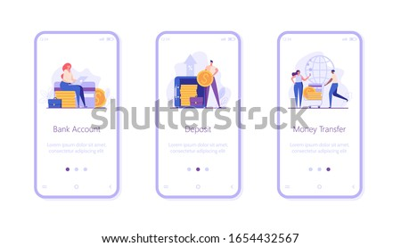 Digital bank UI onboarding screen illustrations for mobile application. Concepts of bank deposit, account, transfer money. People saving money with banking service. Set of banking vector illustrations