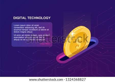 Digital banking online, isometric icon of falling coin, electronic internet purse, financial management online service accumulation and investment of funds, ultraviolet vector