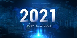 Digital banner 2021 Happy New Year on blue background with HUD interface and polygons. Futuristic technology 2021 concept and world map. Digital design poster 2021 New Year. Vector illustration