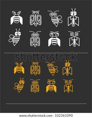digital bees icons one color