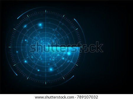 Digital blue realistic vector radar with targets on monitor  in searching. Air search . Military search system . Navigation interface wallpaper . Navy sonar.